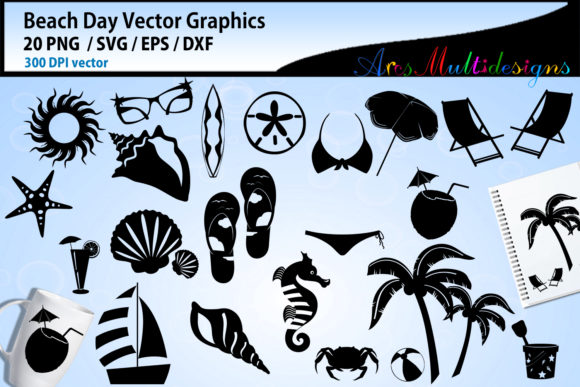 Print on Demand: Beach Day Vector Graphics Graphic Crafts By Arcs Multidesigns