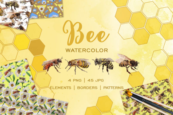 Print on Demand: Bee Watercolor Png Graphic Illustrations By MyStocks