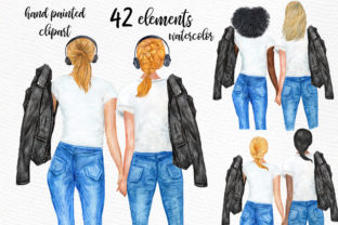 Print on Demand: Best Friends Planner Girls Clipart Graphic Illustrations By LeCoqDesign