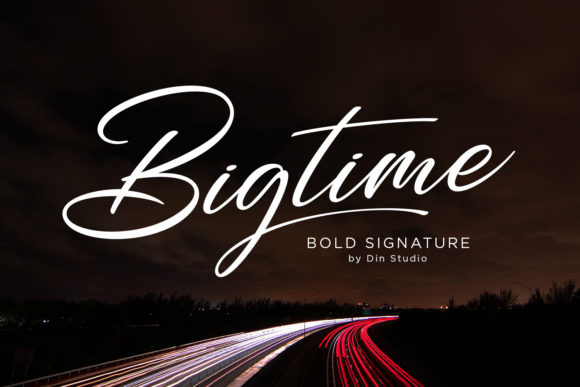 Print on Demand: Bigtime Script Script & Handwritten Font By Din Studio