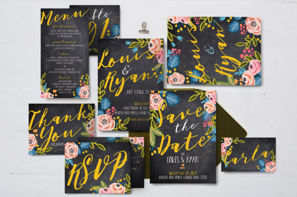 Black Floral Wedding Invitation Suite Graphic By Blue Robin Design Shop