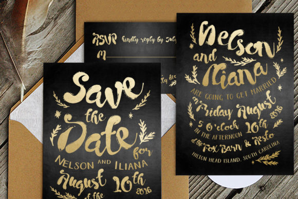 Print on Demand: Black & Gold Hipster Wedding Invitation Suite Grafik Druck-Templates von Blue Robin Design Shop