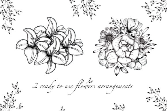 Print on Demand: Black and White Botanical Collection Graphic Illustrations By tanatadesign - Image 4