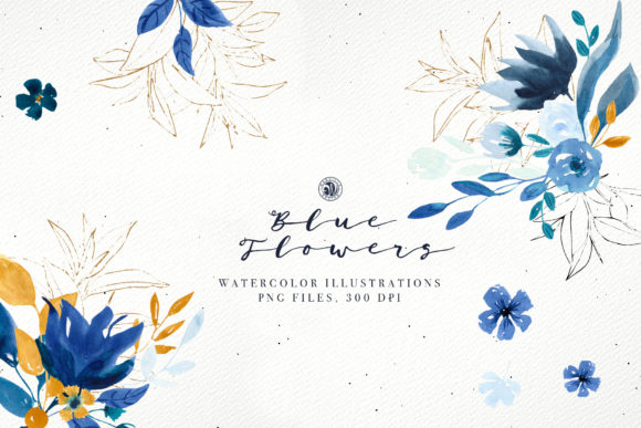 Blue Flowers Graphic Illustrations By webvilla