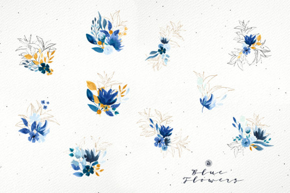 Blue Flowers Graphic By webvilla Image 7