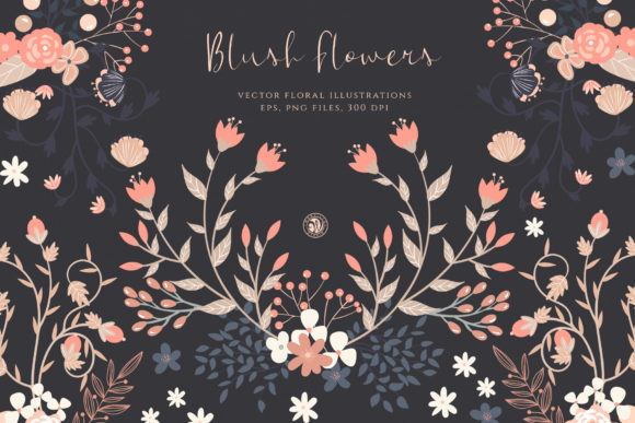 Print on Demand: Blush Flowers Graphic Illustrations By webvilla - Image 1