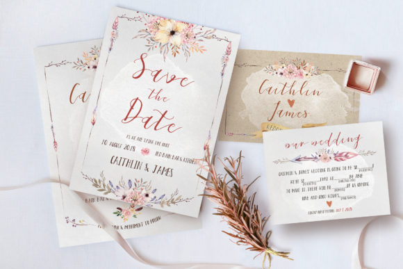 Boho Flower Wedding Suite Graphic By Blue Robin Design Shop