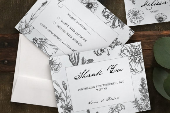Botanical Wedding Invitation Suite Graphic Print Templates By Blue Robin Design Shop - Image 5
