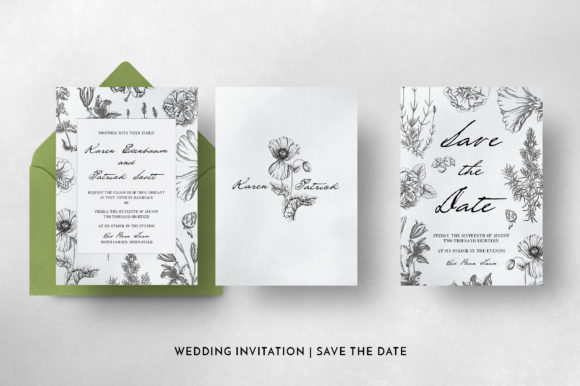 Botanical Wedding Invitation Suite Graphic Print Templates By Blue Robin Design Shop - Image 6