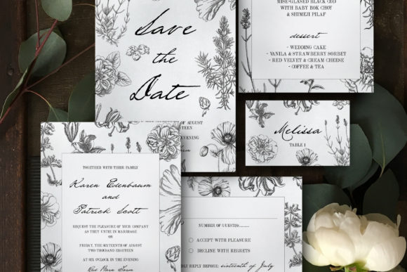 Botanical Wedding Invitation Suite Graphic Print Templates By Blue Robin Design Shop - Image 1