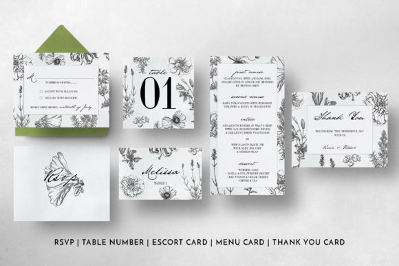 Botanical Wedding Invitation Suite Graphic Print Templates By Blue Robin Design Shop - Image 7