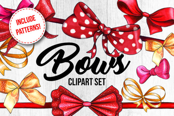 Bows and Ribbons Marker Clipart Graphic Illustrations By ilonitta.r