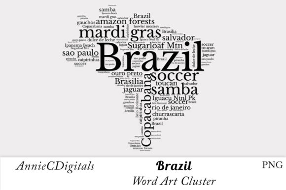 Download Free Brazil Word Art Cluster Graphic By Anniecdigitals Creative Fabrica for Cricut Explore, Silhouette and other cutting machines.