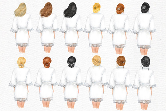 Bridesmaid Wedding Robes Clipart Graphic Illustrations By LeCoqDesign - Image 2