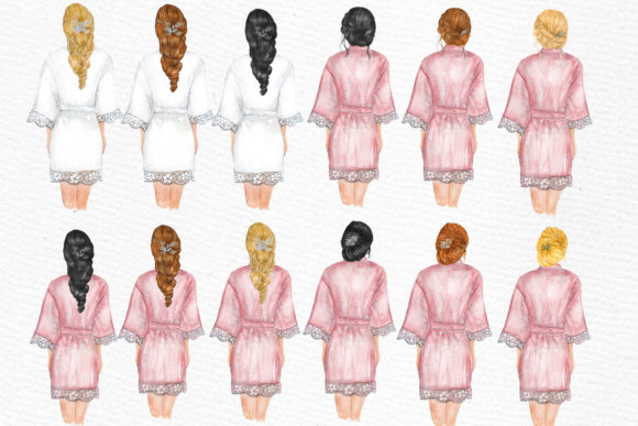 Bridesmaid Wedding Robes Clipart Graphic Illustrations By LeCoqDesign - Image 3
