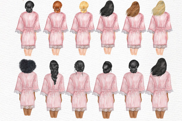 Bridesmaid Wedding Robes Clipart Graphic Illustrations By LeCoqDesign - Image 4