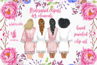 Print on Demand: Bridesmaid Wedding Robes Clipart Graphic Illustrations By LeCoqDesign