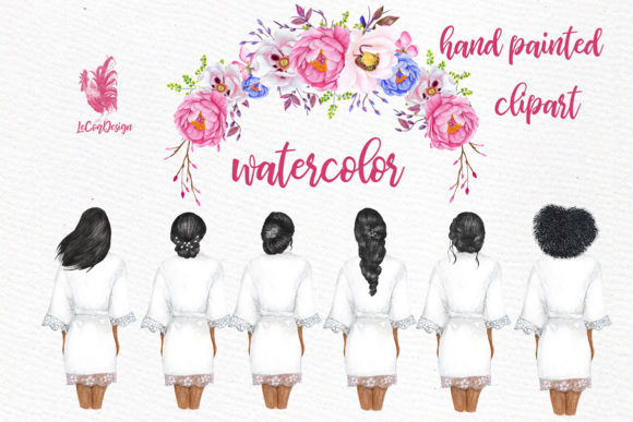 Bridesmaid Wedding Robes Clipart Graphic Illustrations By LeCoqDesign - Image 5