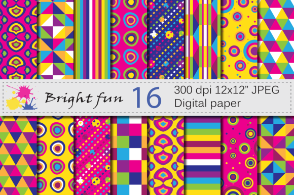 Bright Geometric Digital Papers Graphic Backgrounds By VR Digital Design