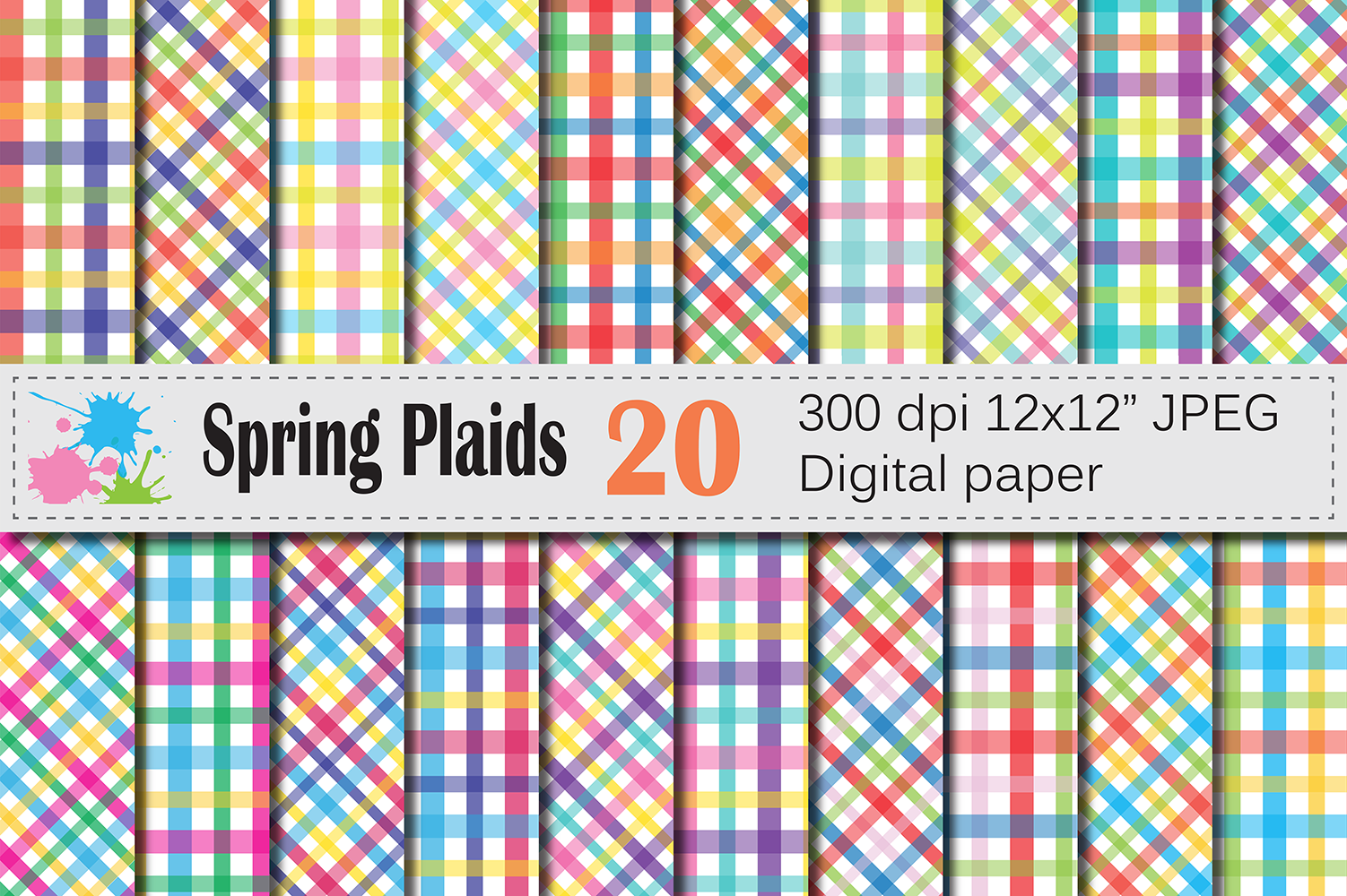 Download Free Bright Spring Plaid Digital Papers Graphic By Vr Digital Design SVG Cut Files