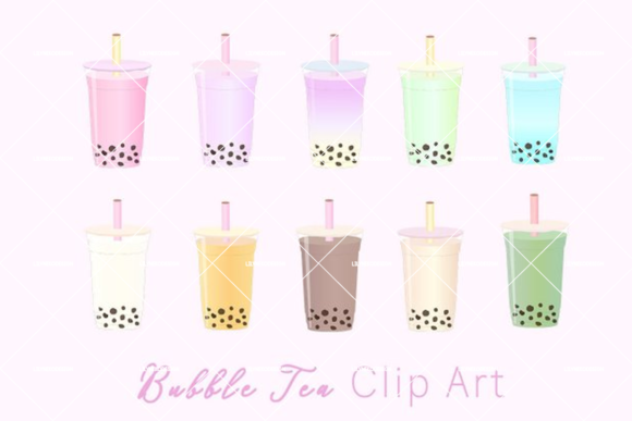 Download Free Bubble Tea Clip Art Illustration Graphic By Lilyuri0205 for Cricut Explore, Silhouette and other cutting machines.