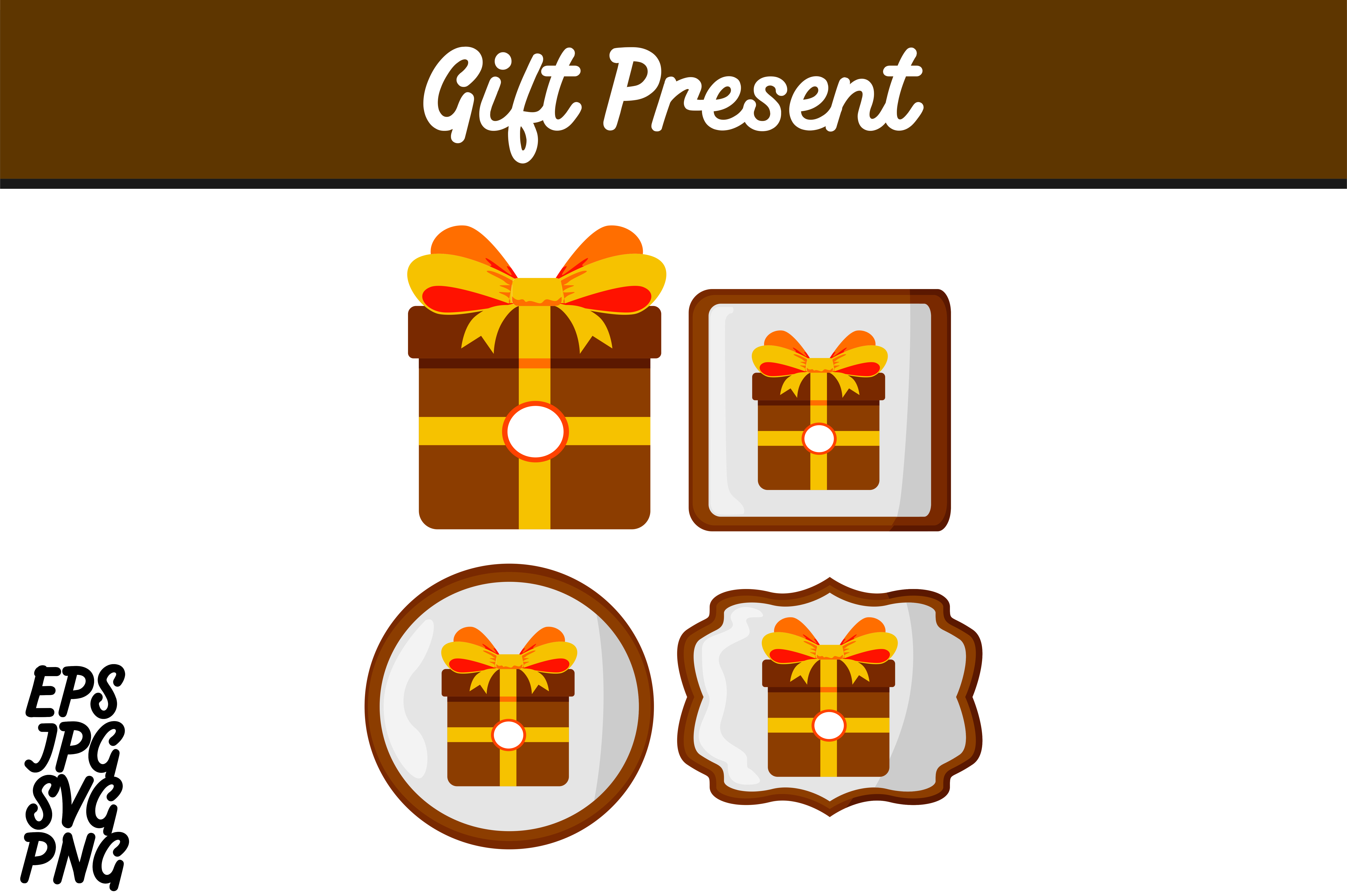 Download Free Bundle Brown Gift Present Set Svg Vector Image Graphic By Arief for Cricut Explore, Silhouette and other cutting machines.