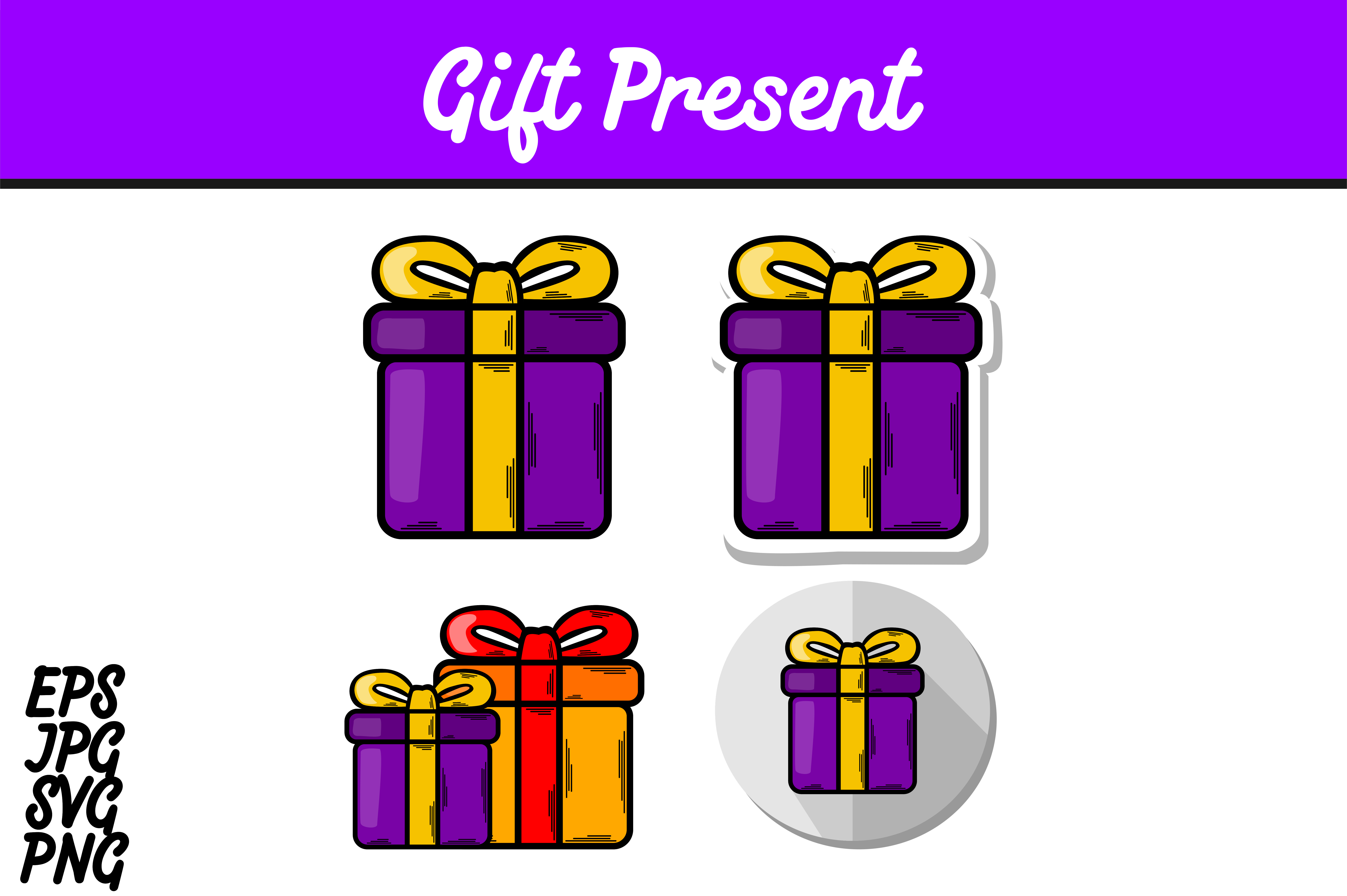 Download Free Bundle Purple Gift Present Set Svg Vector Image Graphic By Arief for Cricut Explore, Silhouette and other cutting machines.