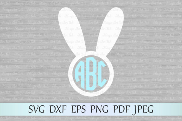Download Free Bunny Monogram Graphic By Magicartlab Creative Fabrica for Cricut Explore, Silhouette and other cutting machines.
