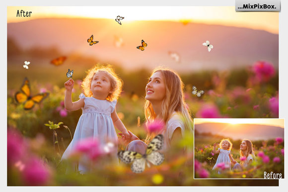 Print on Demand: Butterflies Photo Overlays Graphic Layer Styles By MixPixBox - Image 3