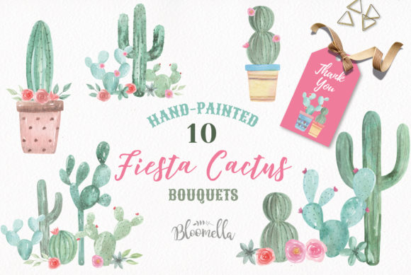 Cactus Watercolor Florals Graphic Illustrations By Bloomella