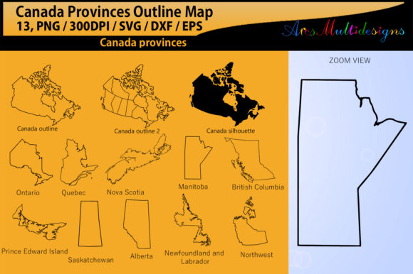 Canadian Provinces Outline Graphic By Arcs Multidesigns Image 1