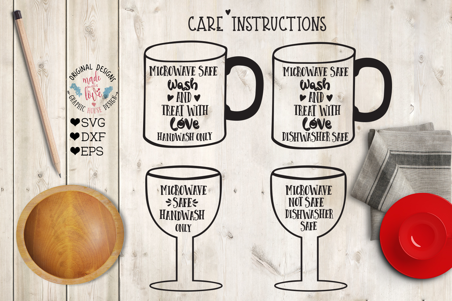 Download Free Care Instructions For Mugs And Wine Glass Grafik Von for Cricut Explore, Silhouette and other cutting machines.