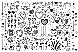 Cartoon Doodle Heart Clip Art Set Graphic By Running With Foxes