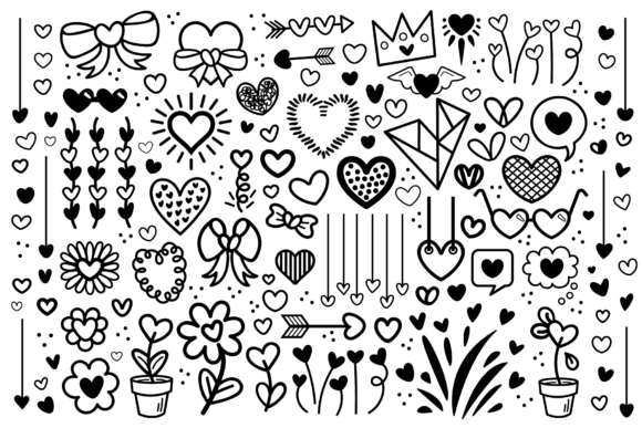 Download Free Cartoon Doodle Heart Clip Art Set Graphic By Running With Foxes for Cricut Explore, Silhouette and other cutting machines.