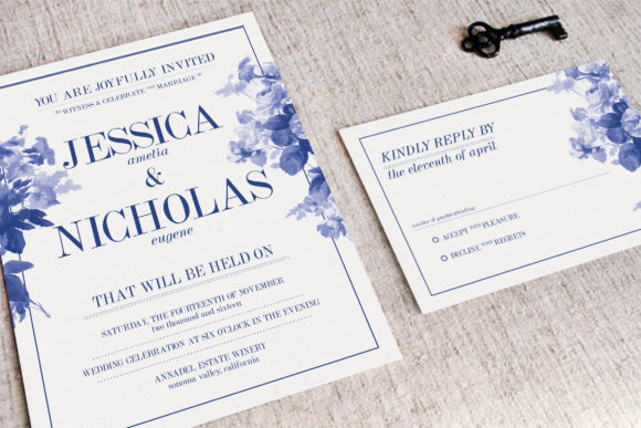 Download Free China Blue Wedding Invitation Graphic By Blue Robin Design Shop for Cricut Explore, Silhouette and other cutting machines.