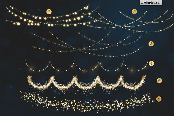 Print on Demand: Christmas Lights Golden Glow Graphic Layer Styles By MixPixBox - Image 6