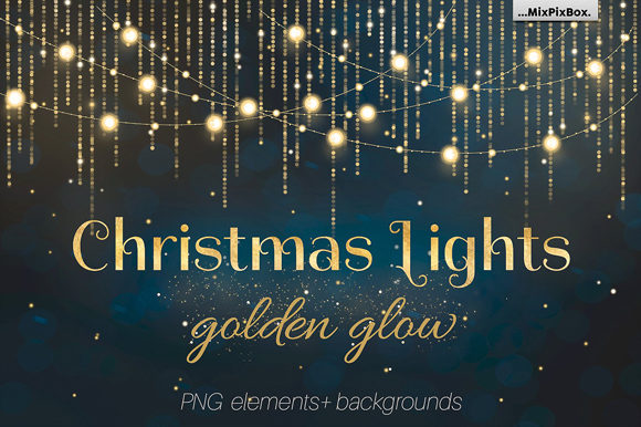 Print on Demand: Christmas Lights Golden Glow Graphic Layer Styles By MixPixBox