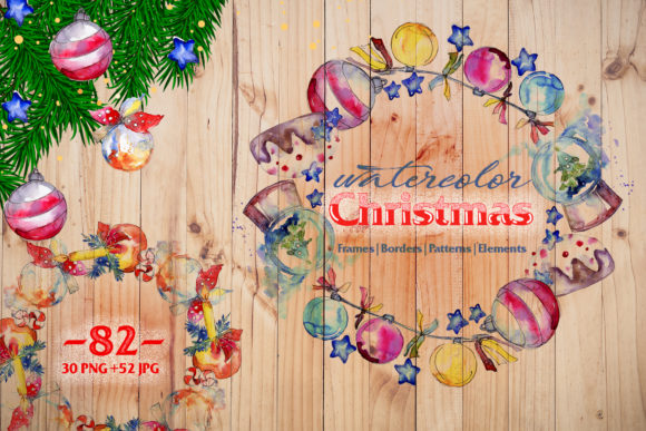 Print on Demand: Christmas Balls Toys PNG Watercolor Set Graphic Illustrations By MyStocks