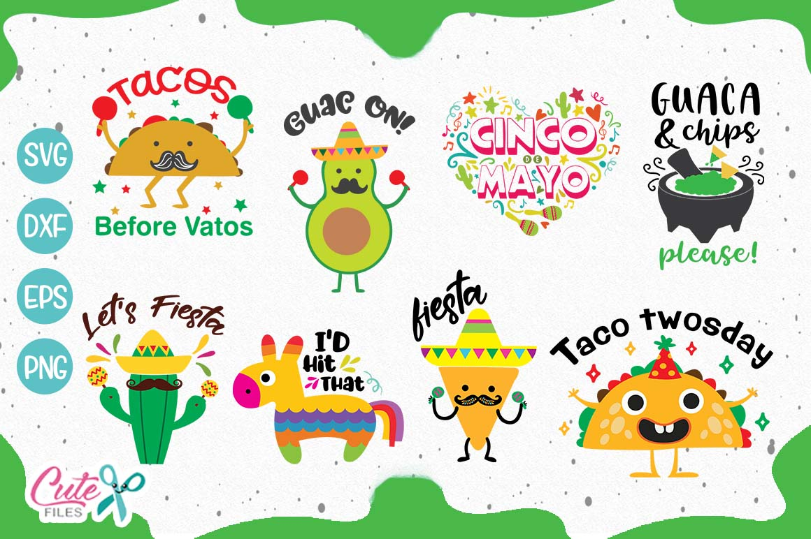 Download Free Cinco De Mayo Bundle Graphic By Cute Files Creative Fabrica for Cricut Explore, Silhouette and other cutting machines.
