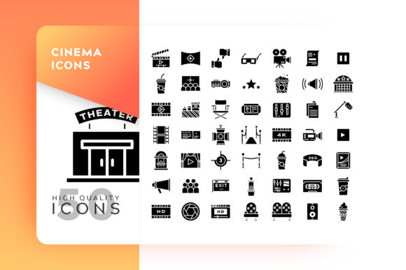 Print on Demand: Cinema Icon Set Graphic Icons By Goodware.Std - Image 1