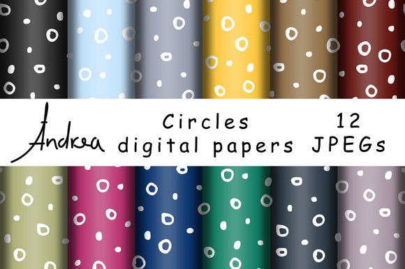 Print on Demand: Circles Digital Papers Graphic Patterns By Andrea Kostelic