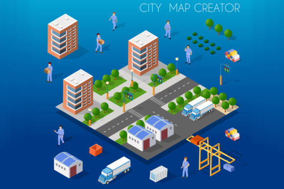 Download Free City Isometric Map Creator Graphic By Alexzel Creative Fabrica for Cricut Explore, Silhouette and other cutting machines.