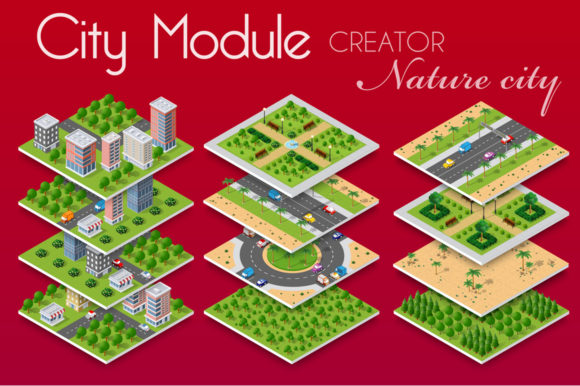 Download Free Isometric City Map Environmental Graphic By Alexzel Creative for Cricut Explore, Silhouette and other cutting machines.