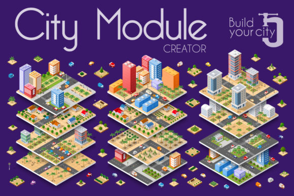 Download Free City Module Creator Graphic By Alexzel Creative Fabrica for Cricut Explore, Silhouette and other cutting machines.