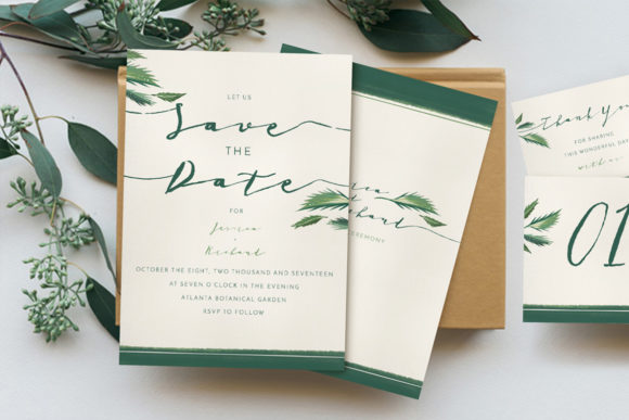Download Free Classy Tropical Wedding Invitation Suite Graphic By Blue Robin for Cricut Explore, Silhouette and other cutting machines.
