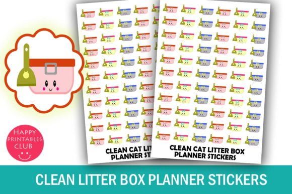 Print on Demand: Clean Litter Box Planner Stickers Graphic Crafts By Happy Printables Club