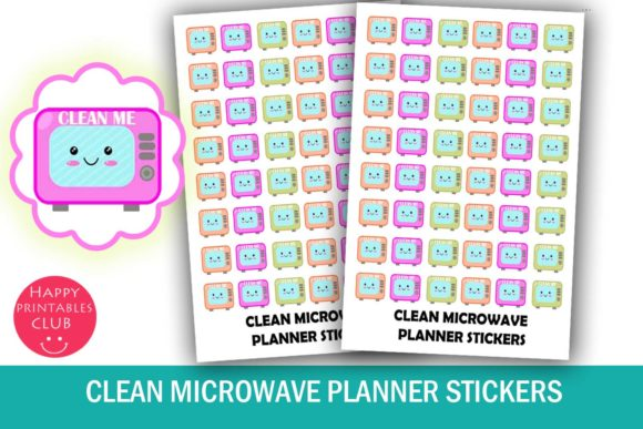 Print on Demand: Clean Microwave Planner Stickers Graphic Crafts By Happy Printables Club - Image 1