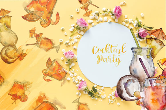 Download Free Cocktail Watercolor Graphic By Mystocks Creative Fabrica for Cricut Explore, Silhouette and other cutting machines.