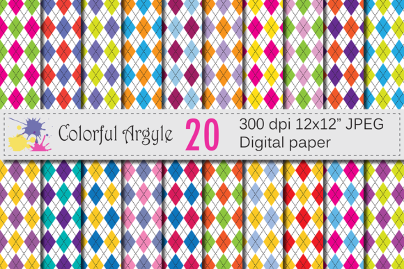 Download Free Colorful Argyle Digital Patterns Graphic By Vr Digital Design for Cricut Explore, Silhouette and other cutting machines.
