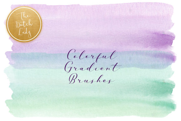 Print on Demand: Colorful Gradient Watercolor Brush Smear Clipart Graphic Crafts By daphnepopuliers